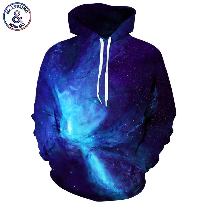 Mr.1991INC Newest Style blue starry sky printing Casual Sweatshirts Men/women hoodie sweatshirt Hot Hooded Pullovers S-3XL M205