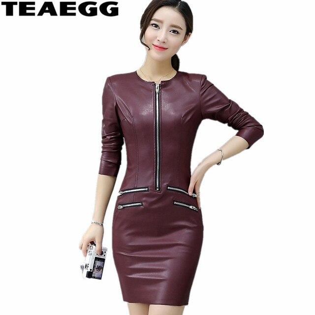 TEAEGG Plus Größe Bleistift Kleid Casual Wein Rot Langarm Pu Leder Kleid Frauen Kleidung Dünne Winter Kleider Frauen 2019 AL603