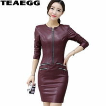 TEAEGG Plus Size Pencil Dress Casual Wine Red Long Sleeve Pu Leather Women Clothing Slim Winter Dresses 2019 AL603