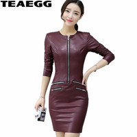 TEAEGG Plus Size Pencil Dress Casual Wine Red Long Sleeve Pu Leather Dress Women Clothing Slim Winter Dresses Women 2019 AL603