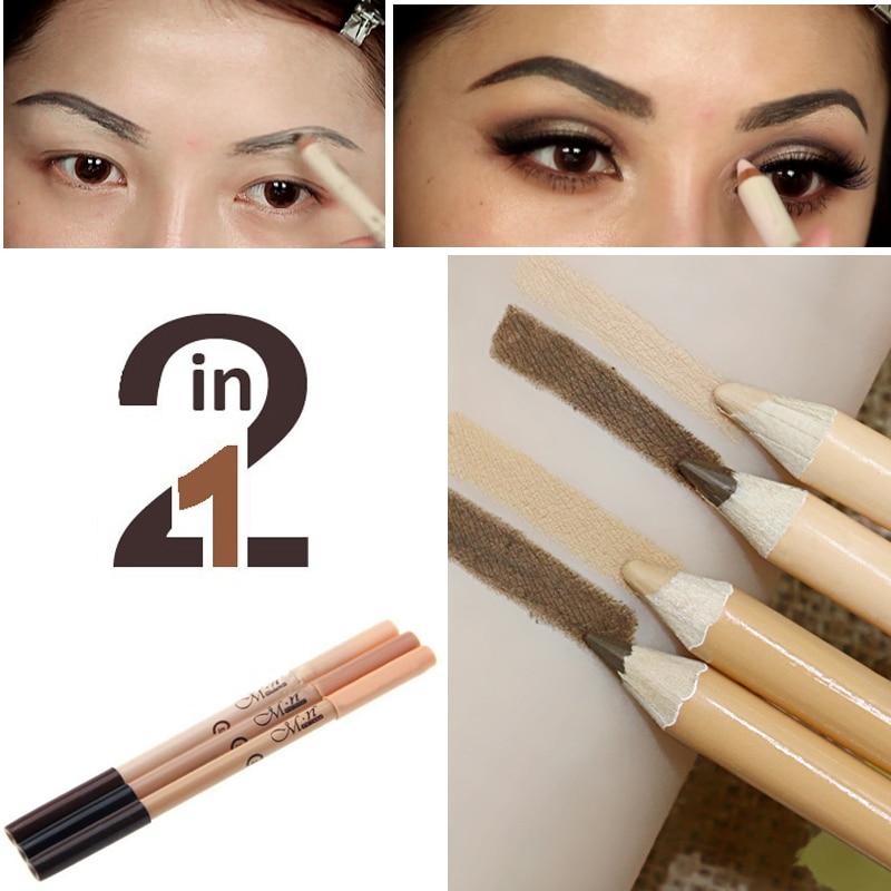 Профессиональный 2 в 1 Дважды конец составляют Водонепроницаемый бровей Pen + Основа для макияжа лица База контур Макияж Уход за кожей лица Корректоры для лица карандаш