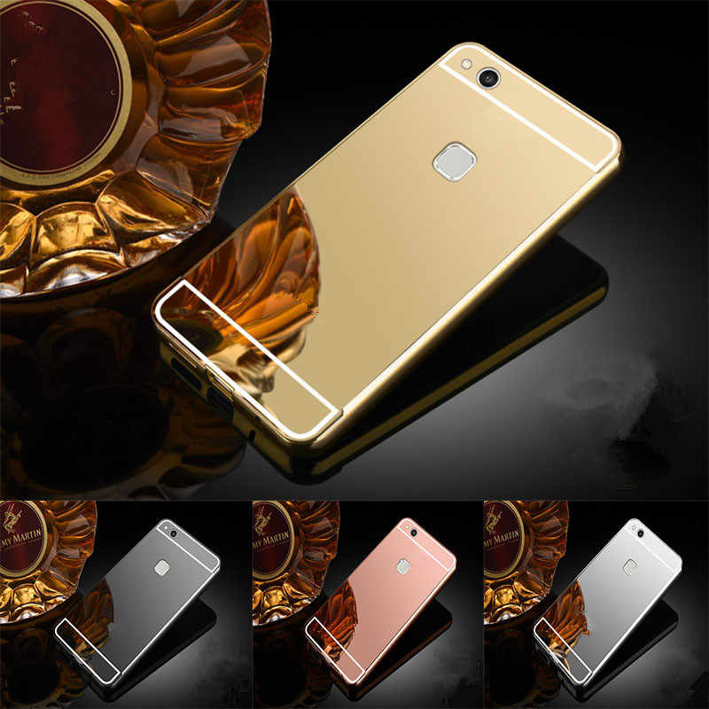 Luxury Rose Gold Mirror Cases For Huawei P8 Lite 2017 Alumimum Metal Frame shell Back Cover for Huawei P9 Lite 2017