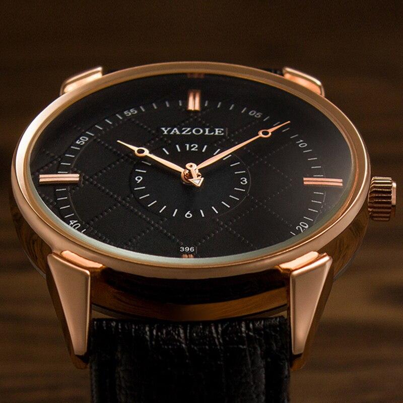 YAZOLE Mens Watch Top Brand Luxury Erkek Kol Saati Watch Men Watch Waterproof Leather Roman Men's Watch Male Clock Relojes