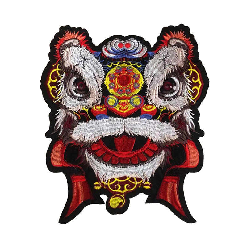 Chinese Style Lion Dance Cloth Stickers Large Lion Head Clothing Accessories Embroidered Cloth Stickers