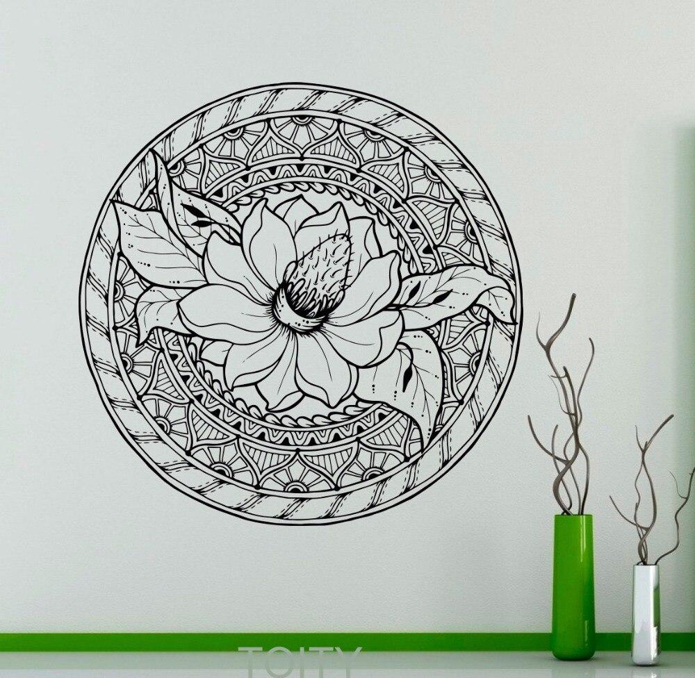 Lotus Flower Ornament Wall Decal Mandala Vinyl Sticker Indian Art