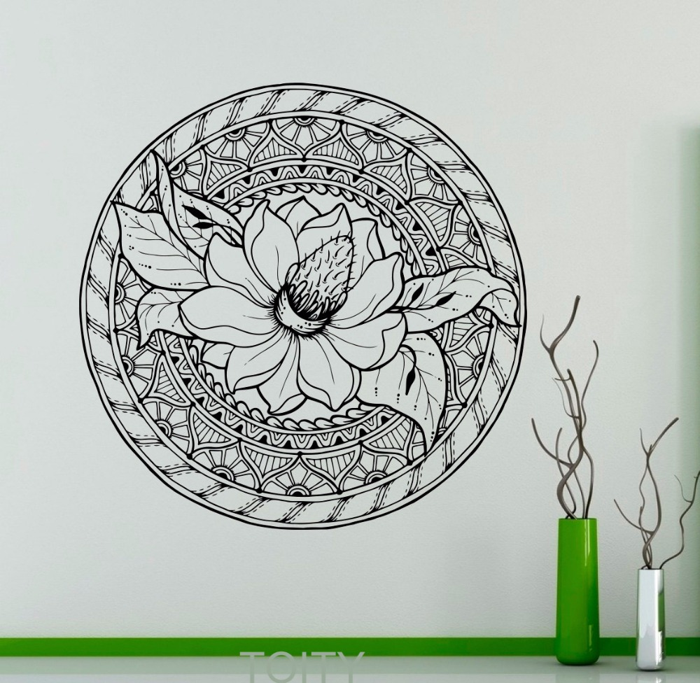 Lotus Flower Ornament Wall Decal Mandala Vinyl Sticker Indian Art Decor Home Room Office Club Salon Bar Restaurant Mural