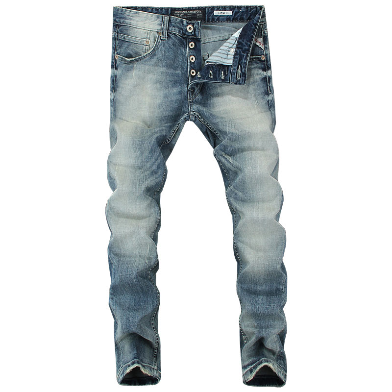 2019 Italian Style Fashion Men's Jeans Blue Color Slim Fit Cotton Classical Jeans Casual Pants Brand Designer Buttons Jeans Men