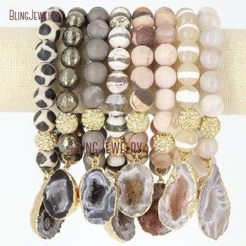 Boho Chic Stone  Beads Agates Geode Druzy Charm Pendant Bracelets BM20552