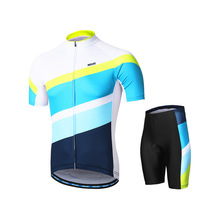 ARSUXEO Men Women Cycling Jersey Set Short Sleeves Mountain Bike Jersey with Shorts MTB Bicycle Jersey with Zipper Pockets