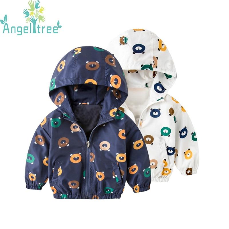 Angeltree 2018 новый для маленьких мальчиков куртки для девочек с принтом медведя детская верхняя одежда и пальто с капюшоном для малышей ветровк...