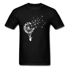 Casual Men T-shirt Dandelion Print Tops Tees Mens Black White Tshirt Cartoon Cotton T Shirts Going Where The Wind Blows Sweater все цены