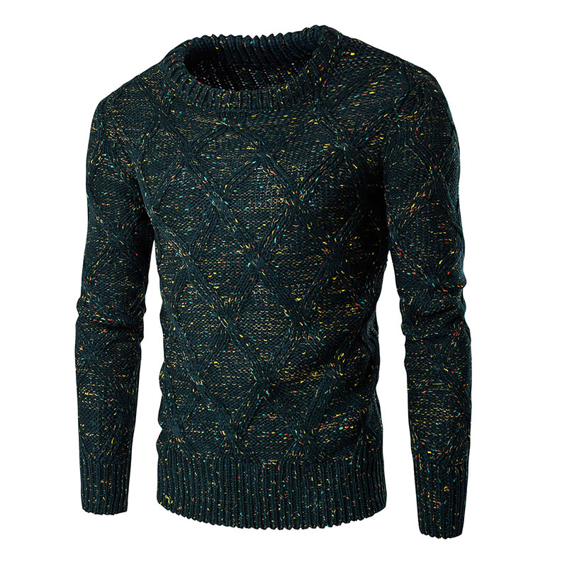 2017 New spring and autumn fashion brand sweater round neck men s knitted sweaters and pullovers Color dot thickening 3-color