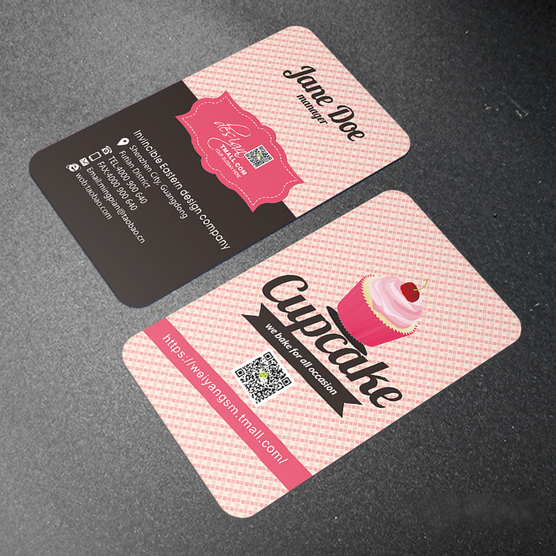 Printing 200pcs PVC Two Side ID Cards Plastic Round Business Card Design Calling Paper Cards Custom Print Waterproof 85*54mm