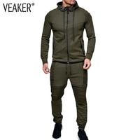 2018 New Men's Autumn Hoodies Tracksuit Set Male Zipper Pleated Sweatshirt Sweatpants High Street Jackets Sets M 3XL