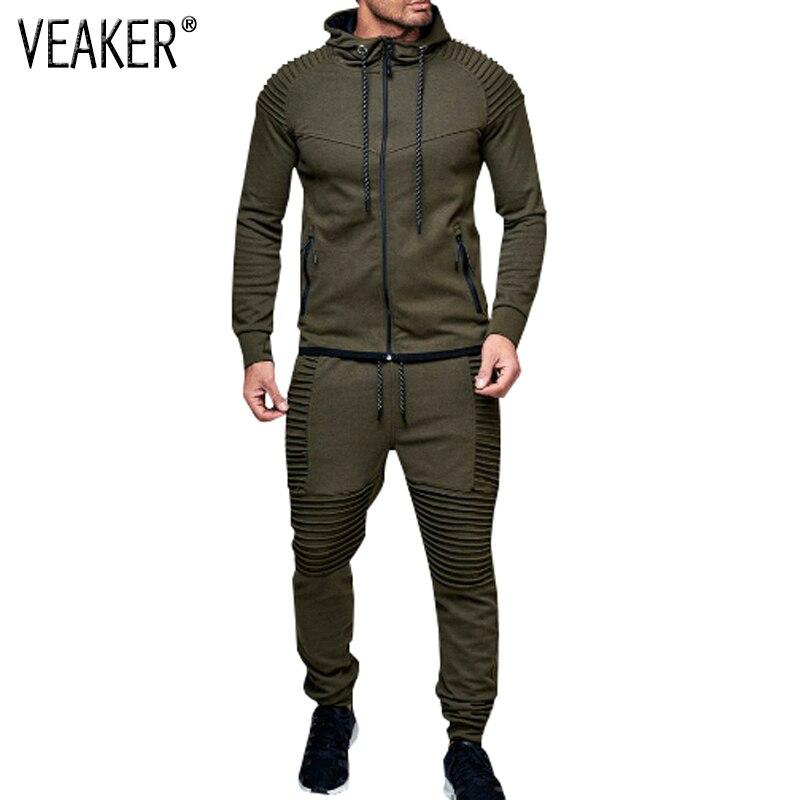2019 New Men's Autumn Hoodies Tracksuit Set Male Zipper Pleated  Sweatshirt Sweatpants High Street Jackets Sets M-3XL