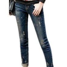 spring autumn Fashion Brand Women Skinny Jeans Cotton Denim Paint pencil pants capris plus size
