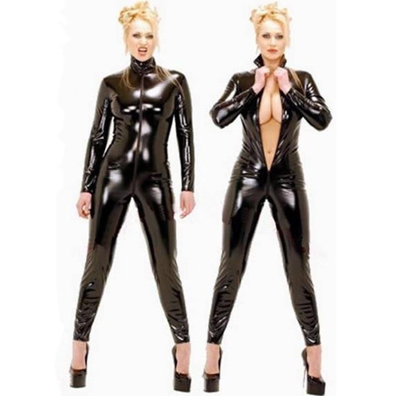 Buy 2016 Hot Sexy Black Catwomen Jumpsuit PVC Spandex Latex Catsuit Costumes Women Body Suits Fetish Leather Jumpsuit Plus Size