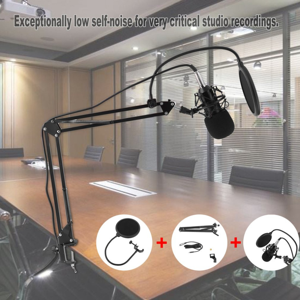 Professional Condenser Sound Recording Microphone With Mount Holder For Karaoke Radio Braodcasting Singing For Computer PC 100% new professional bm 800 bm800 condenser sound recording microphone with shock mount for radio braodcasting singing black