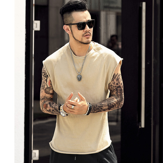 men's sleeveless knitwear sleeveless undershirt wide shoulder vest bodybuilding tank top men cotton summer new T4364