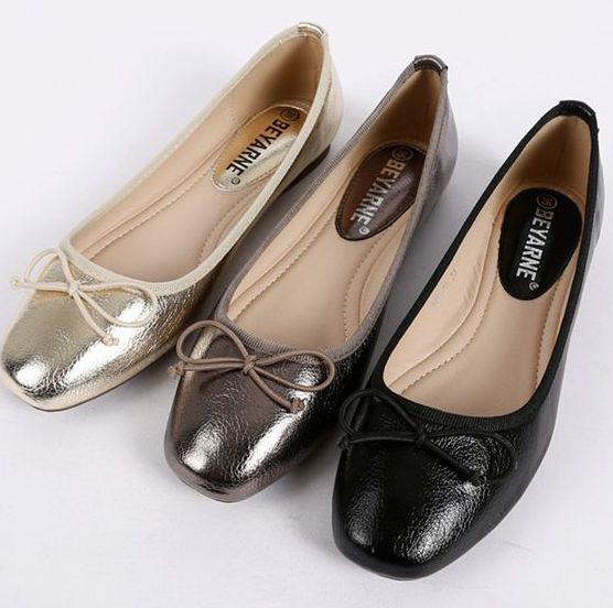2017 new women's flats shoes fashion casual PR141, plus big sizes 40 41 women flats with bow, black gold square toe boat shoes