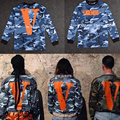 2016streetwear hip hop clothing kpop mens long sleeve tshirts military camo camouflage graphic tees t-shirt vlone off white