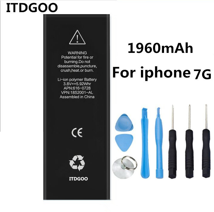 1960mAh Original Quality KALUOS Standard Replaced Battery For Apple iPhone 7 With installed Tools