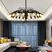 Nordic Iron LED Pendant Chandelier Lights For Living Dining Room E27 Gold /Black Chandelier Lamp Fixtures Fountain Type Lamp
