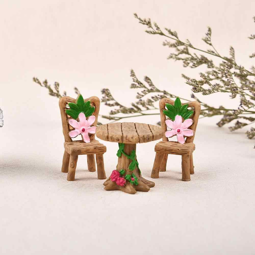 3pcs/Set Table Chair Resin Craft Micro Landscape Ornament Fairy Garden Miniature Terrarium Figurine Bonsai Decoration