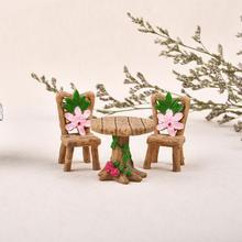 3pcs/Set Table Chair Resin Craft Micro Landscape Ornament Fairy Garden Miniature Terrarium Figurine Bonsai Decoration ark light diy decoration miniature glass pot led table lamp fairy terrarium potting garden decor miniature microlandschaft
