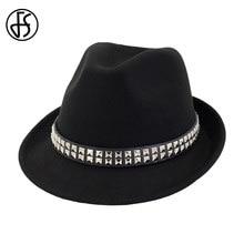 FS Winter Autumn Black Red Fedora Hat For Men Wool Top Jazz Hats Casual  Wide Brim Vintage Women Church Elegant Cap With Rivet e4ae829e4898