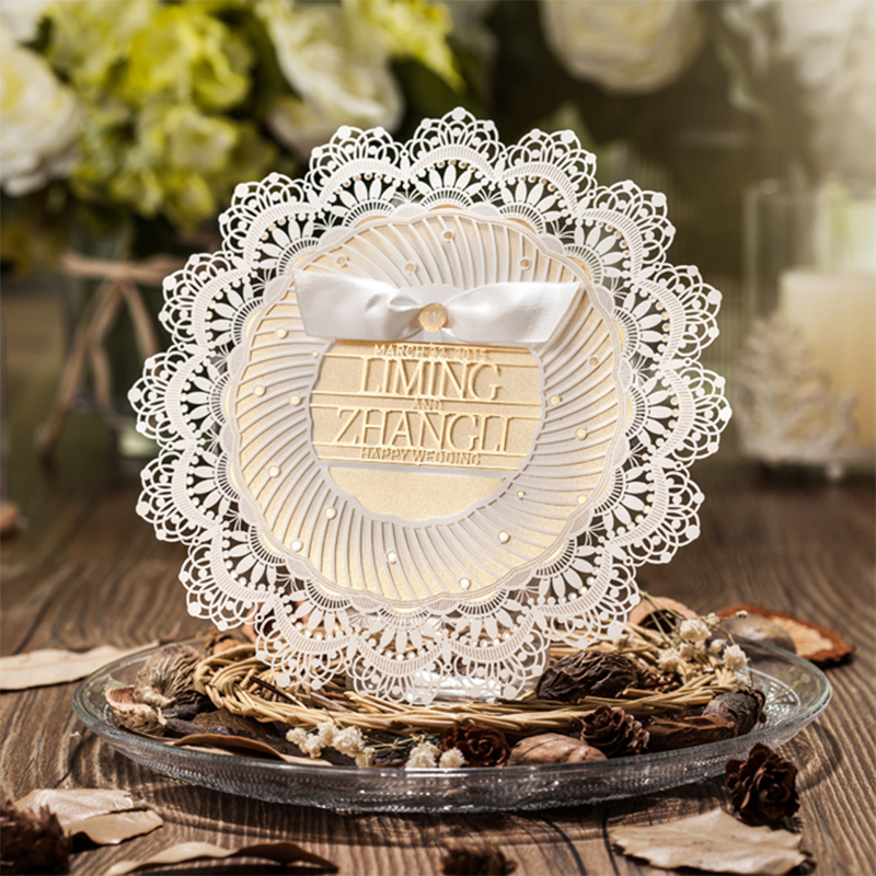 Round Lace Laser Cut Wedding invitations Ribbons Bow Printing Invitation Cards Kit Paper Card Set Post Greeting Party Invite design laser cut lace flower bird gold wedding invitations kit paper blank convite casamento printing invitation card invite