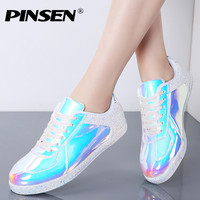 PINSEN Fashion Sneakers Women Flats Shoes Casual Outdoor Walking Shoes Woman Lace up Gold Glitter Ladies Shoes Zapatos Mujer