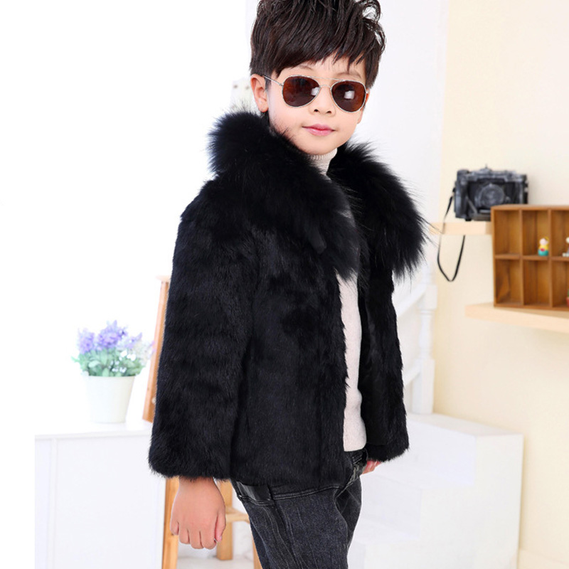 3-9 years Cold Winter Boys Fur Coats Parkas Faux Fur Jackets For Baby Boy Thicken Warm Hooded Coat Kids Snow Wear Outerwear 2018 fashion children s cotton parkas winter outerwear coats thickened warm jackets baby boy and girl faux fur coat
