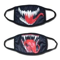 2018 фильм Venom Edward Eddie Brock Косплей рот маска смешной хлопок черный спортивный зимний теплый пылезащитный Анти-пыль рот муфельная