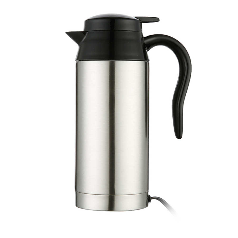 750ml 12/24V Silver Household Car Pot Water Heater Universal Stainless Steel Heating Mug Electric Travel Kettle