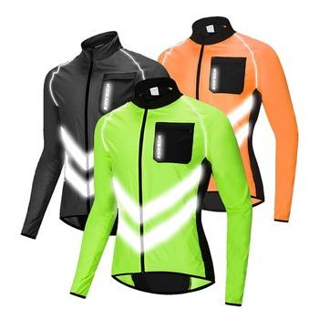 WOSAWE o wysokiej widoczności jazda na rowerze mężczyźni wiatrówki wodoodporna lampa waga bezpieczeństwo jazda na rowerze kurtka płaszcz przeciwdeszczowy rower górski odzież tanie i dobre opinie Poliester Przeciwzmarszczkowy Oddychająca Odblaskowe Szybkie suche Wiatroszczelna Pasuje prawda na wymiar weź swój normalny rozmiar