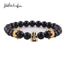WML Men bead Bracelet black Eye Spartan Crown Warrior Skull Skeleton & bangles for men jewelry