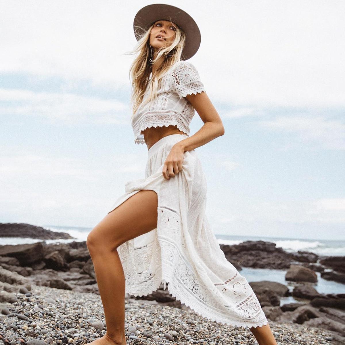 Jastie 2 個セット女性ドレスパッチワークレースのクロップトップ + レースネクタイサイドスカートスーツ自由奔放に生きるシックなビーチ 2 ピーススーツセット夏ドレス  グループ上の レディース衣服 からの レディースセット の中 1