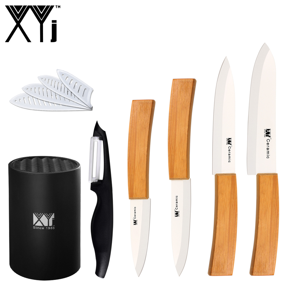 selling kitchen knives 6 piece set ceramic knife xyj bamboo handle white blade 3