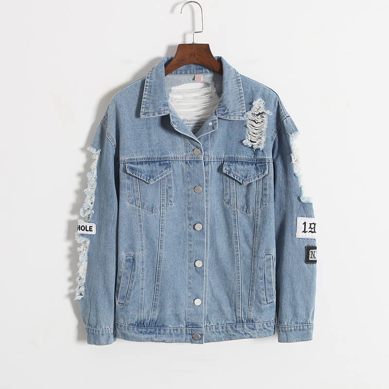 a9e0f0134cf22 New fashion stylish bule color BFpunk style letter embroidery frayer hole  ripped denim jacket coat outerwear for women-in Basic Jackets from Women s  ...