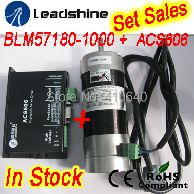 Set Sales GENUINE Leadshine BLM57180 (square flange) servo motor and ACS606 Servo Drive and encoder cable and RS232 tuning cable