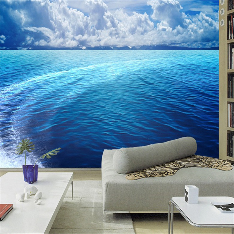 3D wallpaper home decor Photo background Photography Blue sea landscape badroom Office Hotel large wall wallpapers murals-3d mural wallpapers tiles home decor photo background tiles photography color lines of glass mosaic hotel bathroom large wall i2029