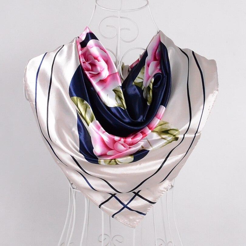 Дизайн женский Шелковый большой квадратный шелковый шарф из полиэстера, 90*90 см горячая Распродажа атласный шарф с принтом для весны, лета, осени, зимы - Цвет: pink beige 515
