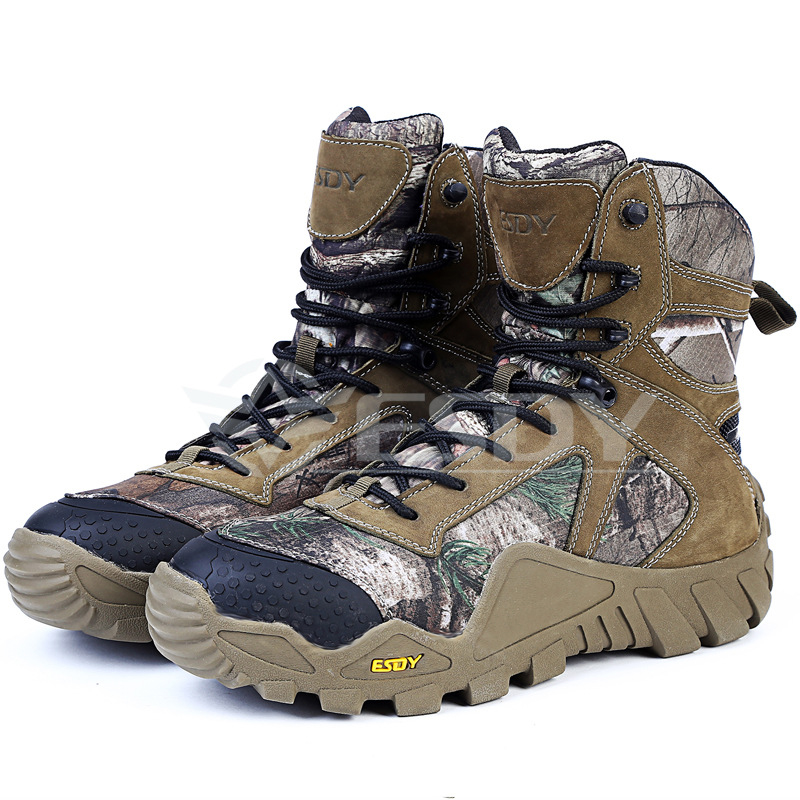Фотография Mens Breathable Leather Outdoor Climbing Shoes Winter Warm Sports Shoes Leaf Camouflage Hiking Tactical Boots