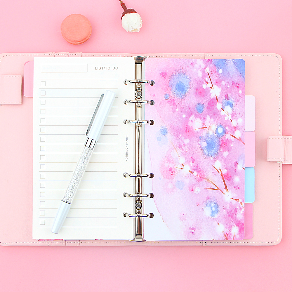 Pink Cherry blossoms Series A5 A6 Spiral Notebook Loose Leaf Separator Pages Notebook Refill Notebook Paper Inside Pages in Notebooks from Office School Supplies