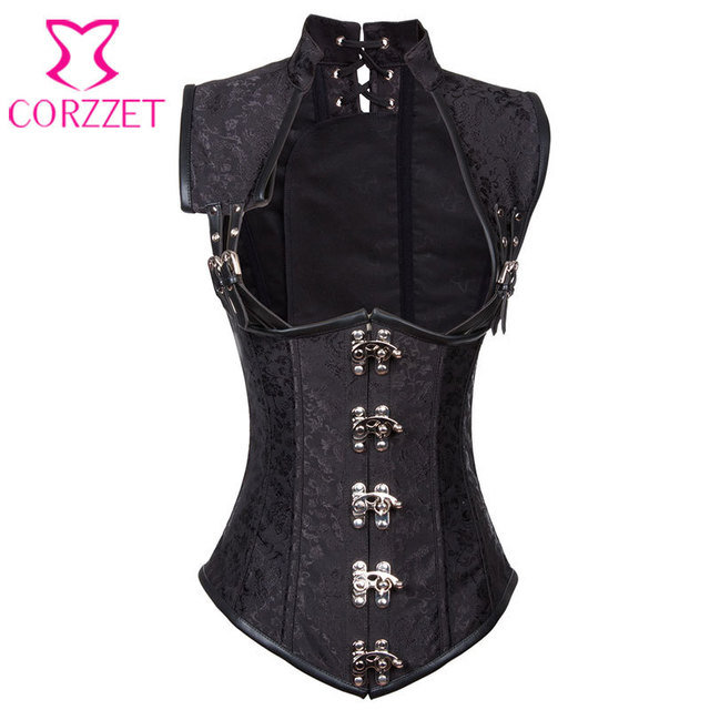 Black Brocade Collared Top Sexy Cupless Waist Trainer Vest Corset Gothic Waist Slimming Corsets Steel Boned Steampunk Clothing