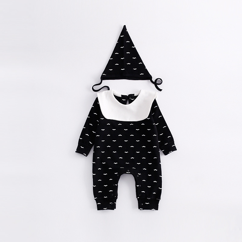 Cute Beard Spring Baby Boy Rompers Set Newborn Boy Clothing Sets Long Sleeve Jumpsuits+Hat 2pcs Suits Newborn Boys Clothing