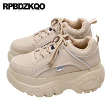 thick sole trainers women elevator china vintage round toe muffin sneakers leisure designer lace up creepers platform shoes