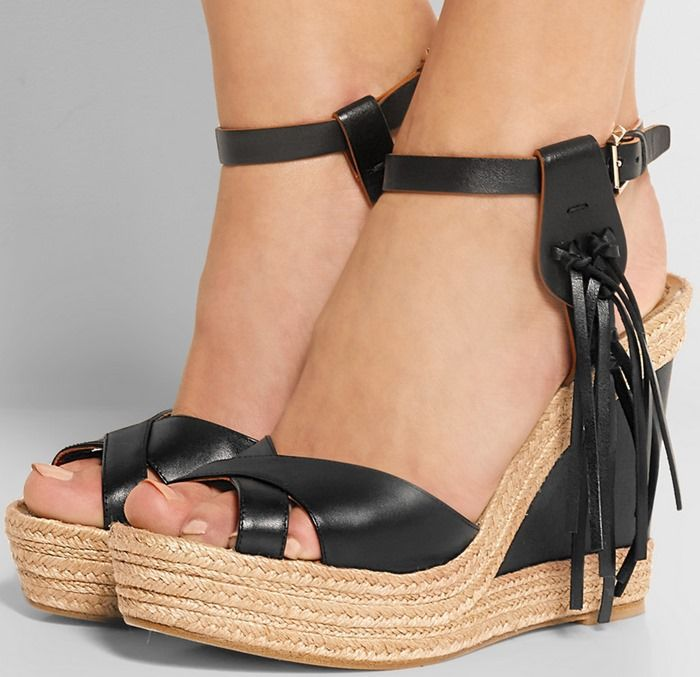 153623cc455 women summer fashionable wedge sandals elegant brown sexy black leather  shoes concise ankle buckles open toe tassels design-in Women s Sandals from  Shoes on ...