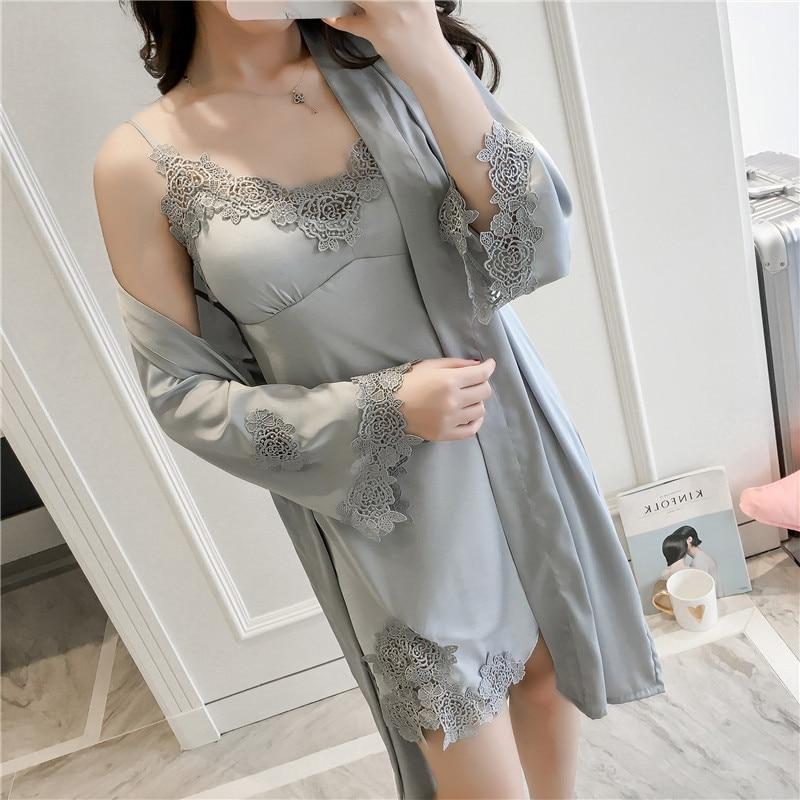 0d001fb33 Verão Conjunto Rendas Bordado Sleepwear Kimono Camisola Sexy Nighty ...